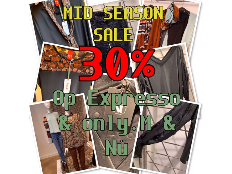 Mid Season Sale 30% korting op Expresso & only.M & Nü